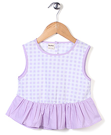 Bee Bee Checkered Print Frock Style Top - Purple