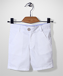 Bee Bee Solid Pattern Shorts - White