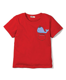Bee Bee Fish Print T-Shirt- Red