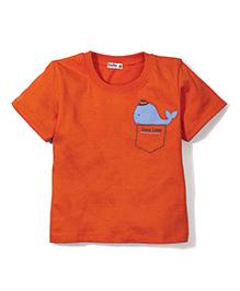 Bee Bee Fish Print T-Shirt- Orange