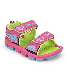G & D Sandal With Dual Velcro - Pink & Lemon