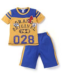 My Kids 028  Print T-Shirt & Short Set - Yellow & Blue