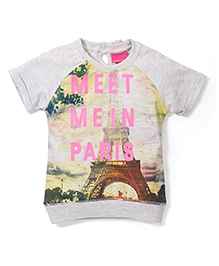 Button Noses Meet Me In Paris Print Top - Off White