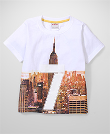Button Noses 7 Number Print T-Shirt - White