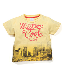 Button Noses Half Sleeves Mister Cool Print T-Shirt - Yellow