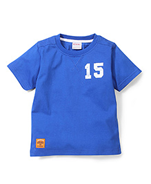 Button Noses 15 Number Print Solid Color T-Shirt - Royal Blue