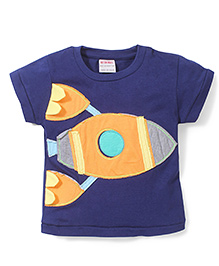 Button Noses Half Sleeves Rocket Print T-Shirt - Blue
