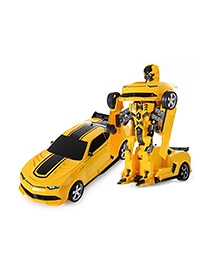 Flyers Bay Troopers RC Transforming Car Cum Robot Simulation Model With Sound Light - Yellow