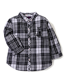 Kidsplanet Cat Print Checkered Shirt - Grey