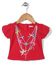 Kidsplanet Jewelry Print Top - Red