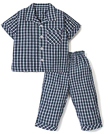 Little Wacoal Checks Print Night Shirt & Pant - Navy Blue