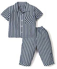 Little Wacoal Stripes Print Night Shirt & Pant - Navy Blue