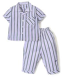Kidsplanet Stripe Shirt & Pyjama set - White & Purple