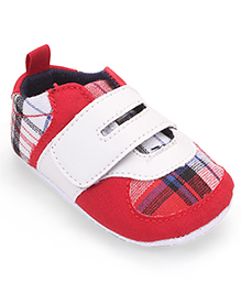 Cute Walk by Babyhug  Check Booties - Red White