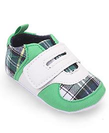 Cute Walk by Babyhug  Check Booties - Green  White