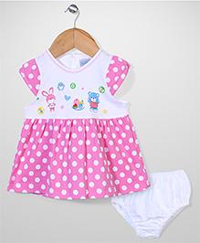 Urban Fashion Polka Dot Print Dress With Bloomer - Pink & White