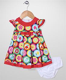Bebe Wardrobe Flower Print Dress With Bloomer - Red