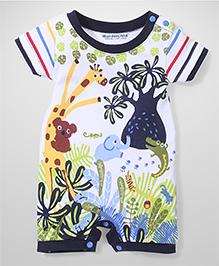 Wonderchild Multi Animal Print Romper - White & Multicolour