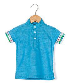 Coo Coo Kurta Style Half Sleeve Shirt - Blue