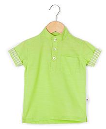 COO COO Kurta Style Half Sleeve Shirt - Green