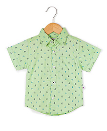 Coo Coo The Parth Boats And Anchors Printed Shirt - Lime Green