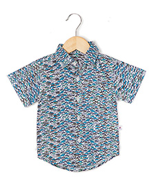 Coo Coo The Parth Cars Printed Half Sleeve Shirt - Blue And Green