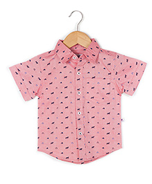 Coo Coo The Parth Horse Shoe Print Shirt - Pink