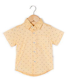 Coo Coo The Parth Whale Print Half Sleeve Shirt - Mustard Yellow