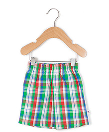 Coo Coo The Aarav Checkered Casual Shorts - Blue Green