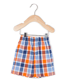 Coo Coo The Aarav Checkered Casual Shorts - Blue Orange