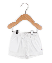 Coo Coo The Radha Solid Shorts With Bow - White