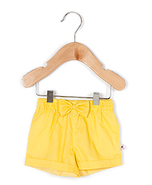 Coo Coo The Radha Solid Shorts With Bow - Yellow