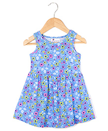 Coo Coo Jersey Mid Wasited Flower Dress - Blue