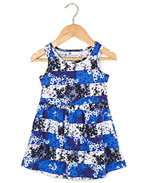 Coo Coo Jersey Mid-Waisted Flower Stripes Dress - Blue & Black