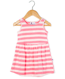 Coo Coo Jersey Mid-Waisted Fluorescent Striped Dress - Fluorescent Pink
