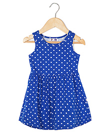 Coo Coo Jersey Mid-Waisted Polka Dot Dress - Blue