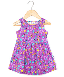 Coo Coo Jersey Mid-Waisted Flower Dress - Purple