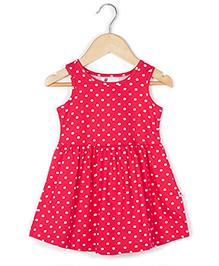 Coo Coo Jersey Mid-Waisted Polka Dot Dress - Pink