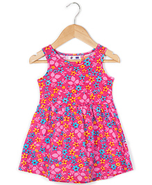 Coo Coo Jersey Mid-Waisted Flower Dress - Pink