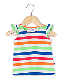 Coo Coo Sleeveless Jersey Top Candy Striped - Multicoloured