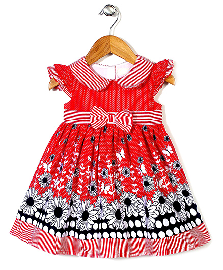 Bebe Wardrobe Flower & Dot Print Dress - Red