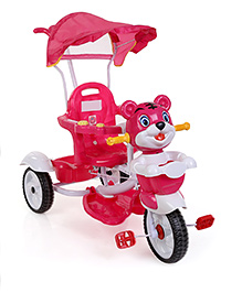 Musical Tricycle With Push Handle and Canopy - Pink