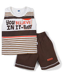 Teddy Sleeveless T-Shirt And Shorts Set Champion Print - White And Brown