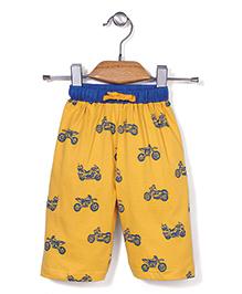 Pink Rabbit Three Fourth Jamaican Shorts Bike Print - Yellow
