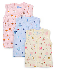 Pink Rabbit Sleeveless Vests Set of 3 - Peach Blue Light Yellow