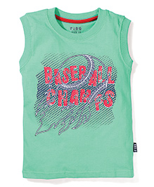 Fido Sleeveless T-Shirt Baseball Print - Green
