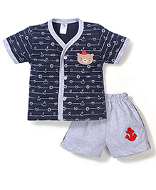 Paaple Half Sleeves T-Shirt And Shorts Set Teddy Patch - Navy Blue