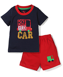 Paaple Half Sleeves T-Shirt And Shorts Big Car Print - Navy & Red
