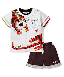 Mini Taurus Half Sleeves T-Shirt And Shorts Set Tiger Print - Cream
