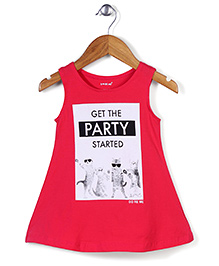 Doreme Sleeveless Frock Get the Party Started Print - Fuchsia